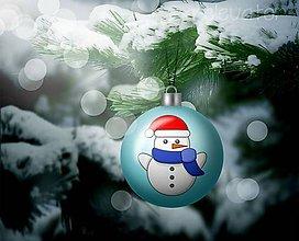 Grafika - Vianočná guľa (grafický obrázok) - snehuliačik - 10263365_