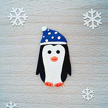 Magnetky - Magnetka tučniak v čiapke 2 (puntíky) - 10264263_