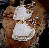 Náušnice - Svadobné náušnice hodvábne biele, štrasové - 10263800_