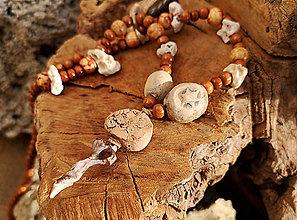 Náhrdelníky - Naturálny náhrdelník, drevo, keramika, kameň, mušle - 10263756_