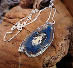 Náhrdelníky - Achátový náhrdelník egyptský, striebro,modro-biely - 10263768_