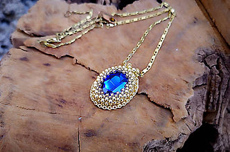 Náhrdelníky - Náhrdelník modrý, pozlátená retiazka - 10263777_