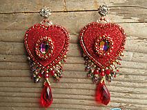 Náušnice - Heart collection - Red/Vitrail medium...vyšívané - 10265596_