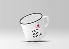 Nádoby - Audit. Party. Repeat. - plechový hrnček pre auditora - 10265957_
