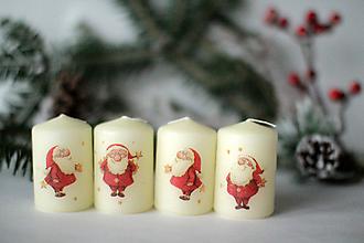 Svietidlá a sviečky - Sada adventných sviec SANTA (Béžová) - 10265995_