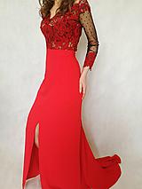 Šaty - Červené krajkované šaty - 10266141_