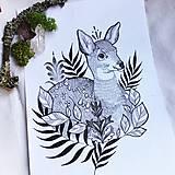 Print-obrázok z originálu mojej kresby  Jelenček