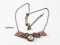 Náhrdelníky - Náhrdelník - lístky se Swarovski - fialová - 10265809_