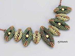 Náhrdelníky - Náhrdelník khaki zelený - 10265948_