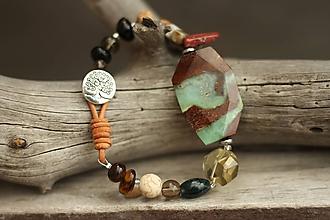 Náramky - Boho náramok z minerálov chrysopras, jaspis, kremeň, achát - 10266000_