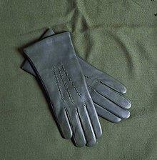 Rukavice - Tmavé khaki dámské rukavice s vlněnou podšívkou - 10265153_