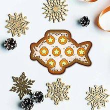 Grafika - Vianočné grafické perníky so vzorom stracciatella - vianočné gule s hviezdičkou (kapor) - 10265871_