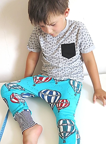 Detské oblečenie - tepláky z biobavlny Do oblakov! (tyrkys) - 10267629_