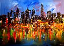 Obrazy - Noční velkoměsto - originální malba akrylem - 10267466_