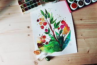 Kresby - Kvietky akvarelové - 10267377_