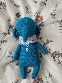 Hračky - Háčkovaný sloník (little owlet) (Modrá) - 10266559_