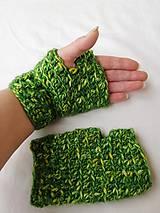 Bezprstové rukavice zelene melir