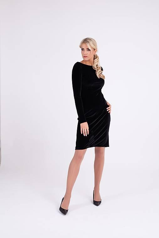 Zamatové šaty čierne s úzkym rukávom   PLZR - SAShE.sk - Handmade Šaty 96792106018