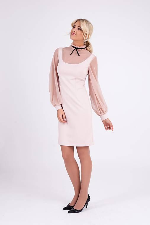 Šaty - Krátke púdrové šaty s bodkovanou sieťkou - 10268117_