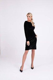 Šaty - Zamatové šaty čierne s úzkym rukávom - 10268113_