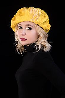 Čiapky - Plstená baretka žltá - 10266957_