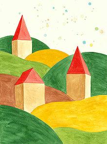 Obrazy - Domčeky, akvarelový obrázok, maľba - 10266892_