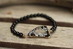 Náramky - Náramok s achátovou drúzou a minerálom onyx - 10267265_