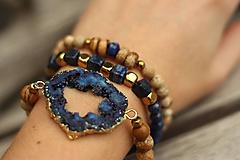 Náramky - TRIO náramky z minerálov lapis lazuli, jaspis a achátová drúza - 10267920_