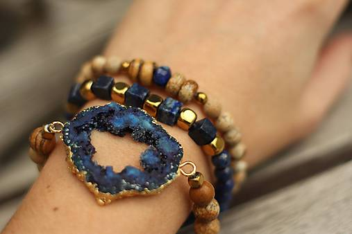 TRIO náramky z minerálov lapis lazuli, jaspis a achátová drúza