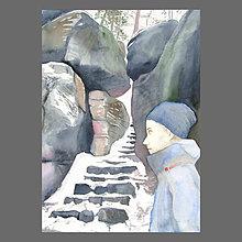 Obrazy - Schodiště ve skalách - originál, akvarel - 10266551_
