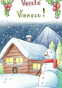 Papiernictvo - Vianočná pohľadnica Noc v zime - 10266463_