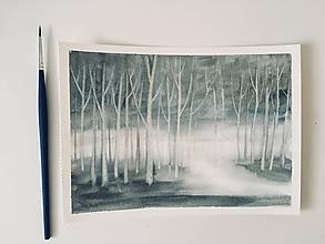 Obrazy - Akvarel Sivý les - originál - 10269210_