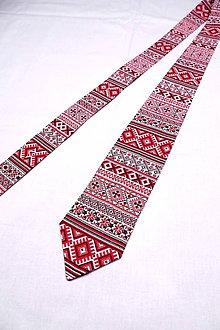 Doplnky - Pánska kravata FOLK v červenom - 10269507_