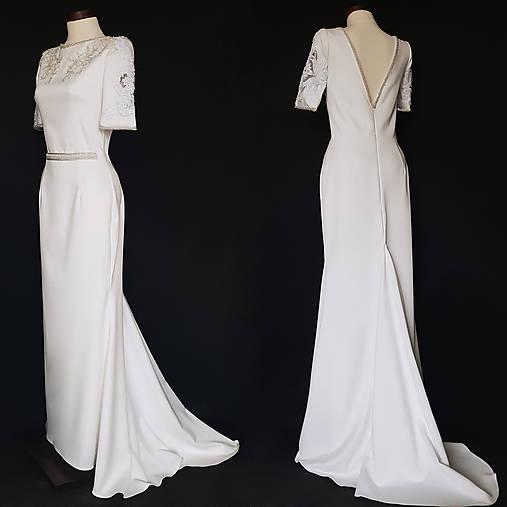 Svadobné šaty strihu morská panna s vlečkou