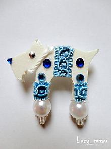 Odznaky/Brošne - Brošnička havko bielo-modrý :) - 10268505_