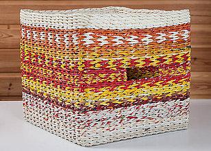 Košíky - Recy košík z papiera - červeno-žlto-biely - 10268443_