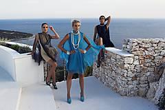 Šaty - Koktailové šaty s modrou sieťkou - 10268499_