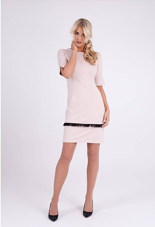 Šaty - Dámske púdrové šaty s 3/4 rukávmi - 10268131_