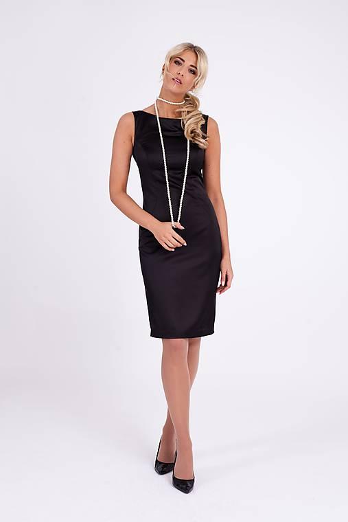 """Šaty - Saténové púzdrové šaty """"malé čierne"""" - 10268758_"""