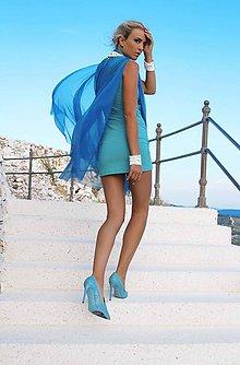 Šaty - Koktailové šaty s modrou sieťkou - 10268490_