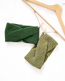 Čiapky - Turban čelenka zelená - 100% merino - 10268308_