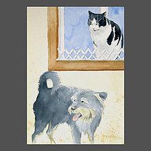 Obrazy - Čertík a Micka - originál, akvarel - 10268883_