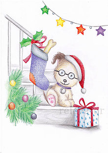 Kresby - Vianočný psík - 10268877_