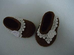 Topánočky - detské papučky-hnedôčky - 10270410_