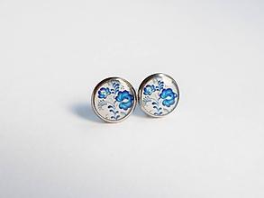 Náušnice - Živicové náušnice - Mini modré folk kvietky (chirur.oceľ) - 10270102_
