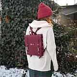 Batohy - Kožený batoh Ruby (bordový) - 10271245_