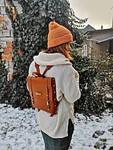 Batohy - Kožený batoh Ruby (tehlovo-oranžový) - 10271251_
