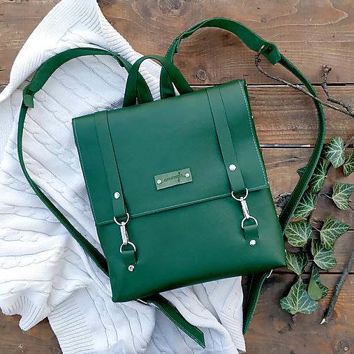 Batohy - Kožený batoh Ruby (smaragdovo-zelený) - 10271256_