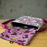 Kabelky - DINKY bag - ružovo biela potlač, pozitív - negatív - 10271008_