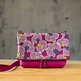 Kabelky - Kabelka SLIM bag - ružová s ružovo bielou potlačou - 10271044_